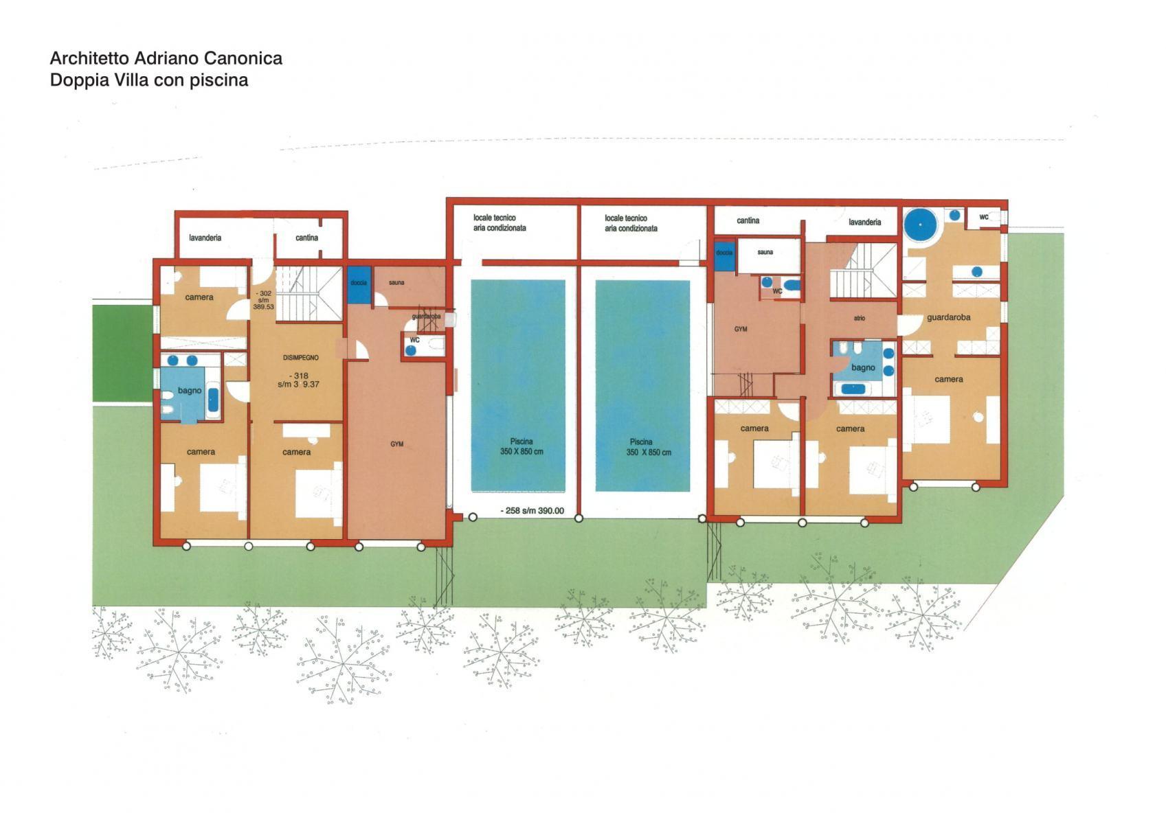 Piano architettonico - piscina coperta