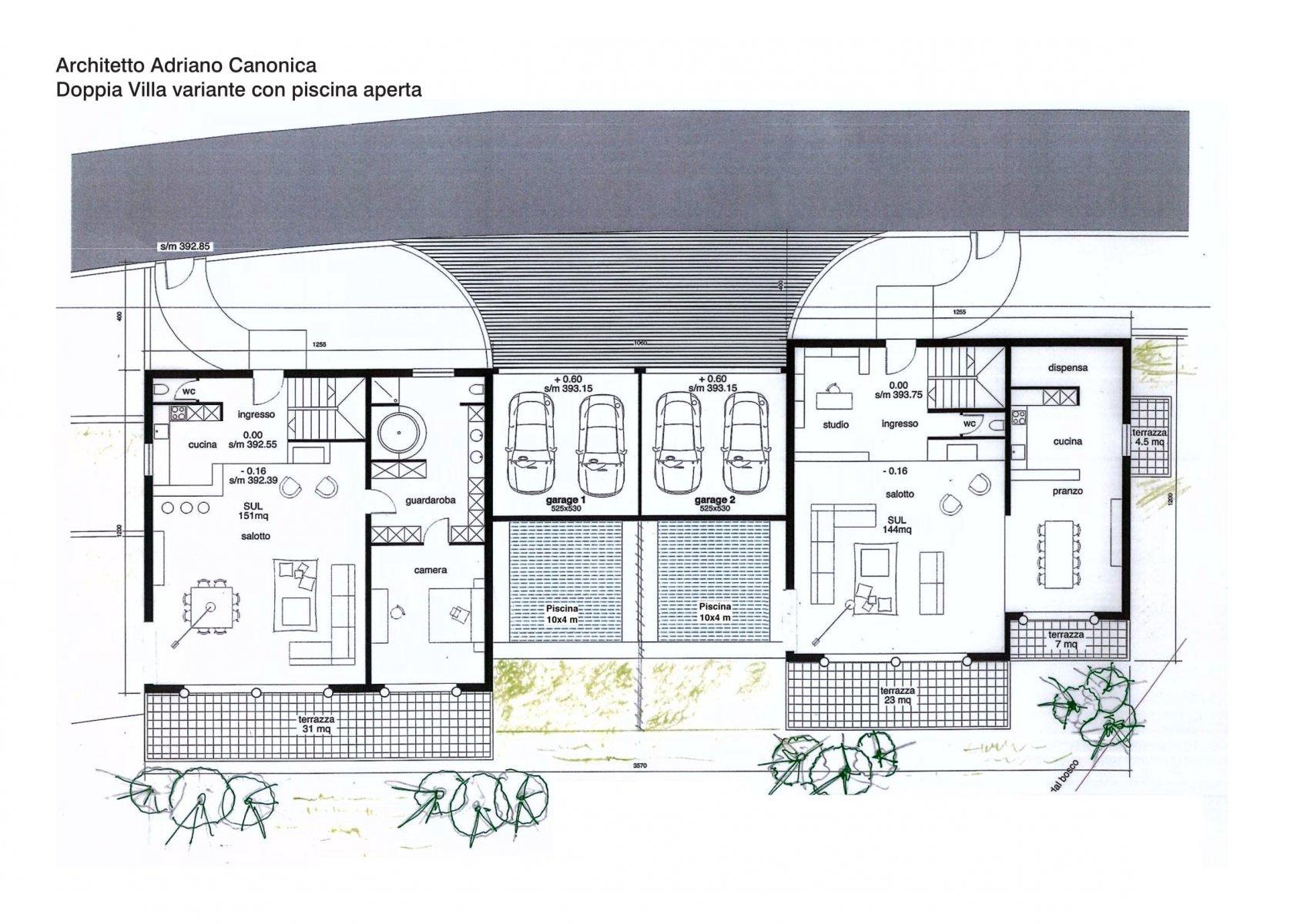 Piano architettonico - variante piscina aperta
